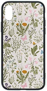 Vintage Garden Plants with Herbs Flowers Botanical Classic Design-1 Black TPU Glass Case for iPhone Xs style14 iPhone Xs
