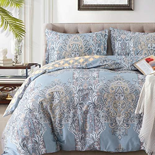 (Duvet Covers Sets Cotton Queen Luxury Paisley Damask Medallion -1000TC Egyptian Cotton Duvet Cover- Reversible  Percale Weave Comforter Cover Set-3pcs Soft Breathable Bedding(Queen,Light Blue Floral))