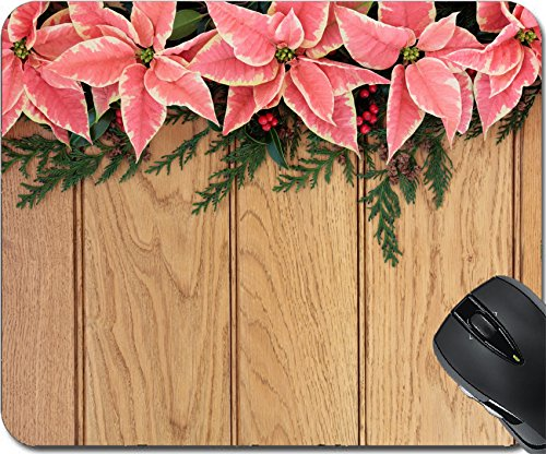 MSD Natural Rubber Mousepad Mouse Pads/Mat design: 30645473 Pink poinsettia flower background border with holly and christmas greenery over oak wood