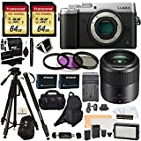 Panasonic DMC-GX8SBODY LUMIX GX8 Interchangeable Lens DSLM Camera + H-HS030 LUMIX G Macro 30 mm f/2.8-22 + 2 Transcend 64 GB + LED Kit + Polaroid Tripod + Monopod + 2 Batteries + Charger + Bags + More