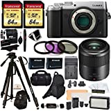 Panasonic DMC-GX8SBODY LUMIX GX8 Interchangeable Lens DSLM Camera + H-HS030 LUMIX G Macro 30 mm f/2.8-22 + 2 Transcend 64 GB + LED Kit + Polaroid Tripod + Monopod + 2 Batteries + Charger + Bags + More