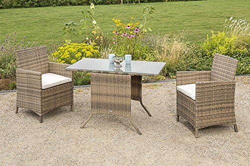 MERXX 5tlg Balkonset Treviso 1 Tisch 115 x 64 cm naturgrau Sitzkissen 2X Sessel inkl