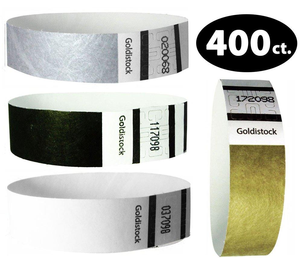 Goldistock Variety Pack 400 Ct - 100 Each Color - 3/4'' Tyvek Wristbands- Versatile Set C - Metallic Gold, Metallic Silver, Tuxedo Black & Formal White - Event Identification Bands (Paper-Like Texture)