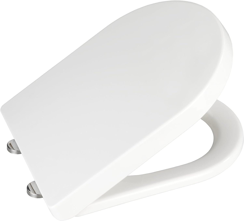 mehrfarbig rostfreie Fix-Clip Hygiene Edelstahlbefestigung WENKO 22405100 Premium WC-Sitz Guilty Dog Toiletten-Sitz mit Absenkautomatik 38 x 45 cm