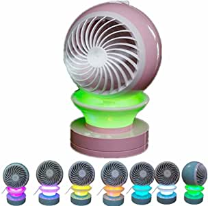 Lucstar Personal Portable Table Fan with Mist Humidifier Purifier,Table Lamp Gradient Changing Seven Colors,Powered by USB Charger,Quiet Design for Office Desk Bedroom Living Room Travel Car Gift Pink