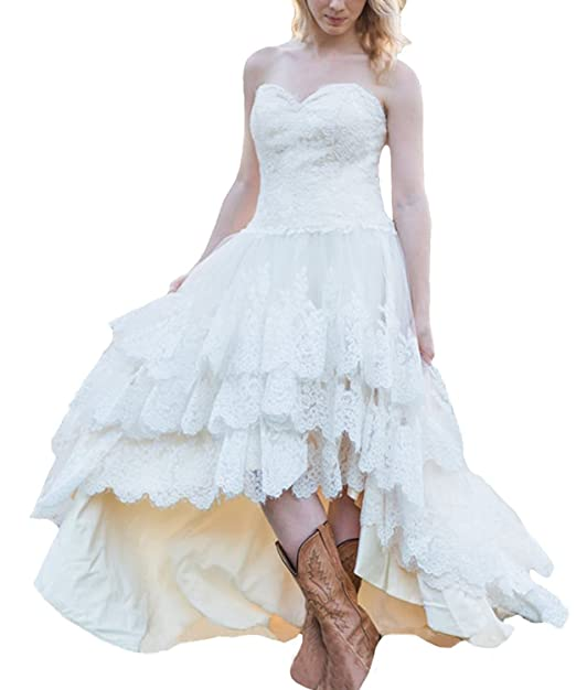 Tulle Wedding Dress High Low Lace Bridal Dresses Corset Plus Size Bride  Gowns Sweetheart Tiers