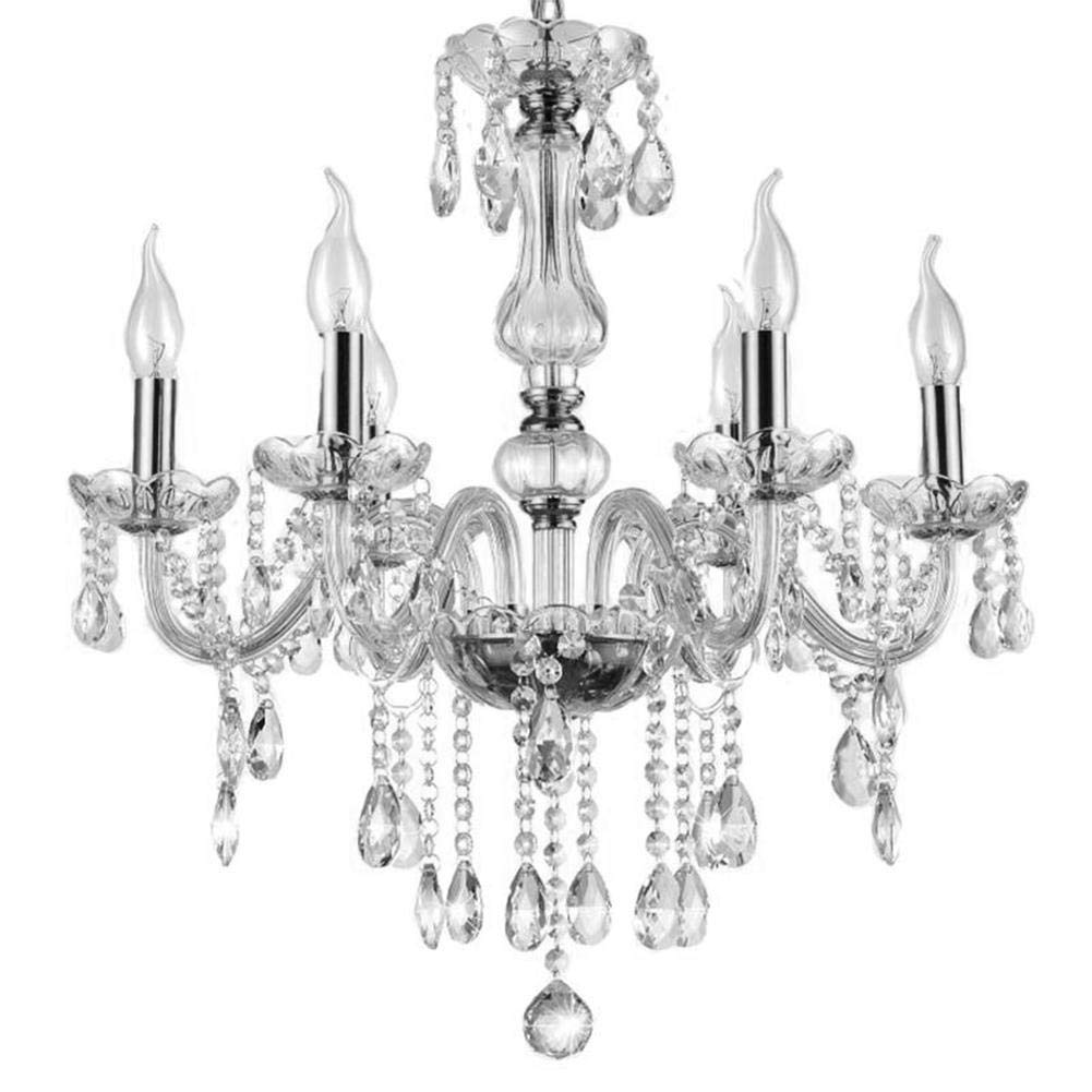 Xuuyuu Crystal Ceiling Light,Modern 6-Arm Lights European Style K5 Ordinary Chandelier Pendant Lamp Lighting Fixture Living Room Decor Without Light Source