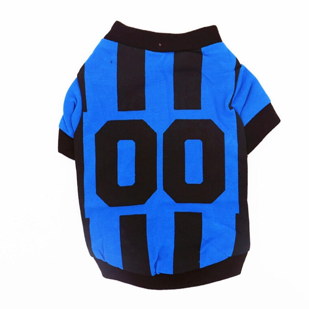 Pet Apparel Spring Summer Shirts Football Jersey Uniforms Small Dog Cat Clothes Sports T-Shirt Vest Puppy Costumes (XS, Blue)