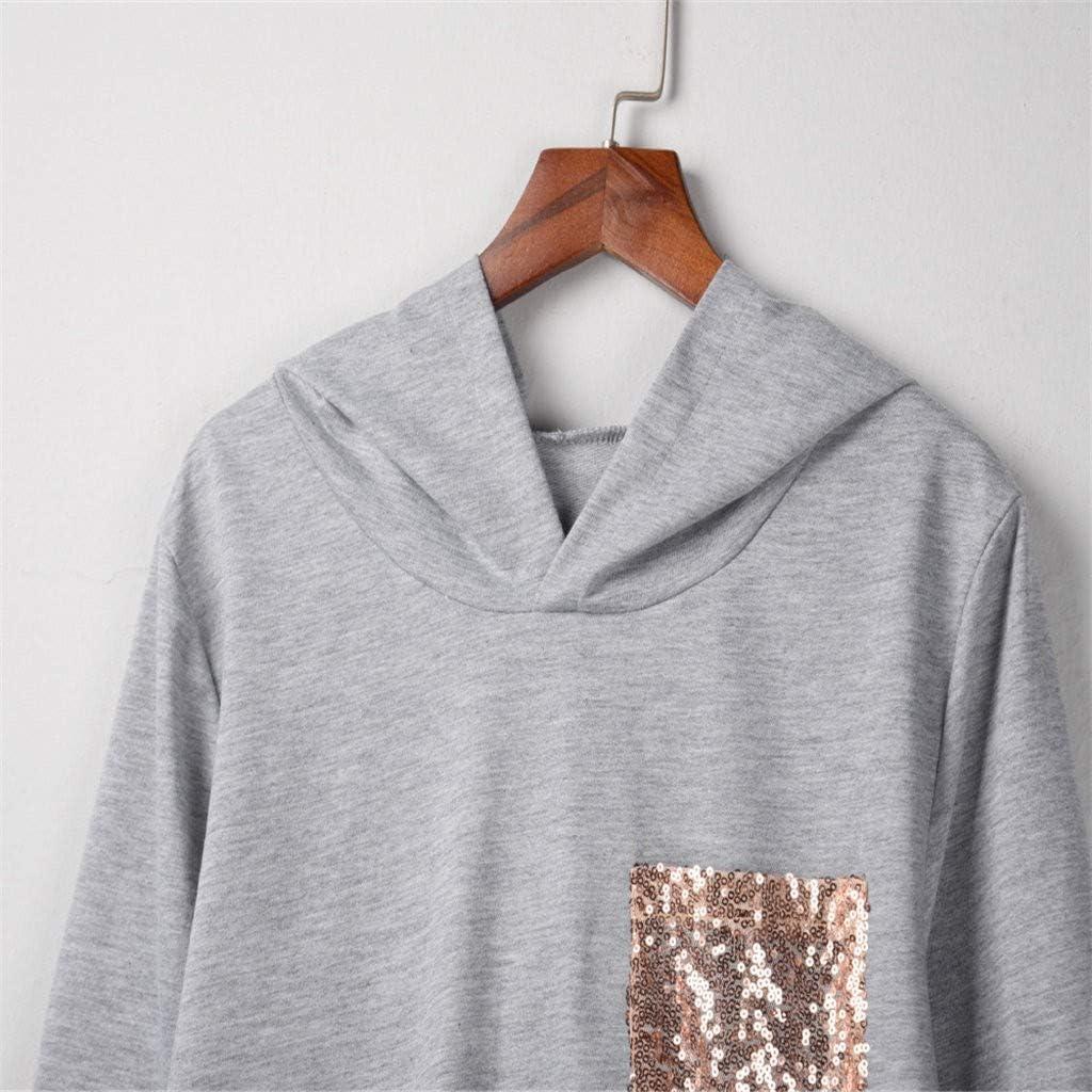 Meikosks Womens Sequins Pocket Hoodies Splicing Striped Long Sleeve Sweatshirts Fashion Tops