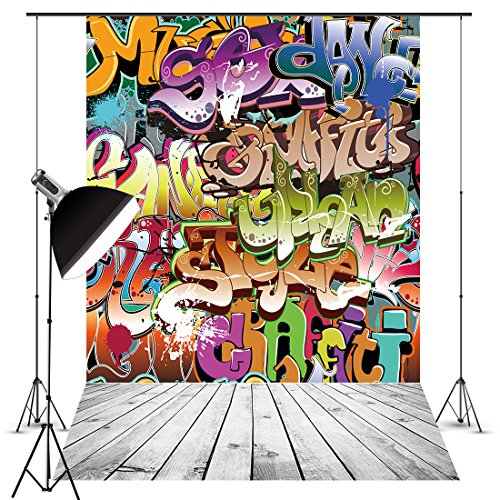 5X7Ft Graffiti Photography Backdrops Photo Studio Retro Style Hip Pop Wall Backdrop Vinyl Backdrop Photo Booth Background for Photography Video Birthday 80/90s themed -