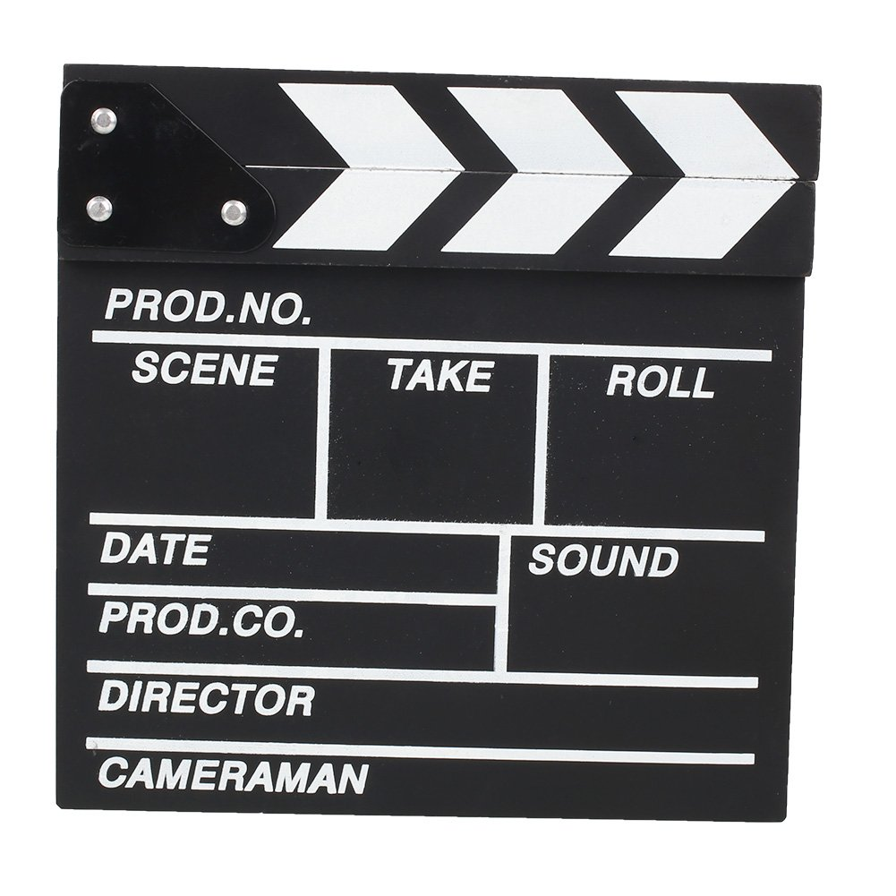 Cewaal Pine Film Movie Clapboard Wooden Dry Erase Director Slate Theater Party Decoration Black+White