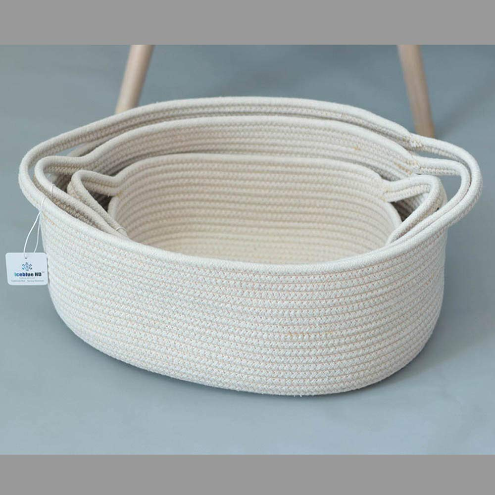 ICEBLUE HD Set of 3 Exquisite Natural Cotton Rope Soft Storage Bins Boxes Baskets