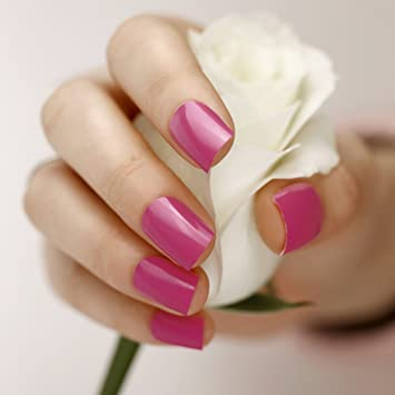 ARTPLUS Kit de uñas postizas pegamento media funda de Full con 24 ...