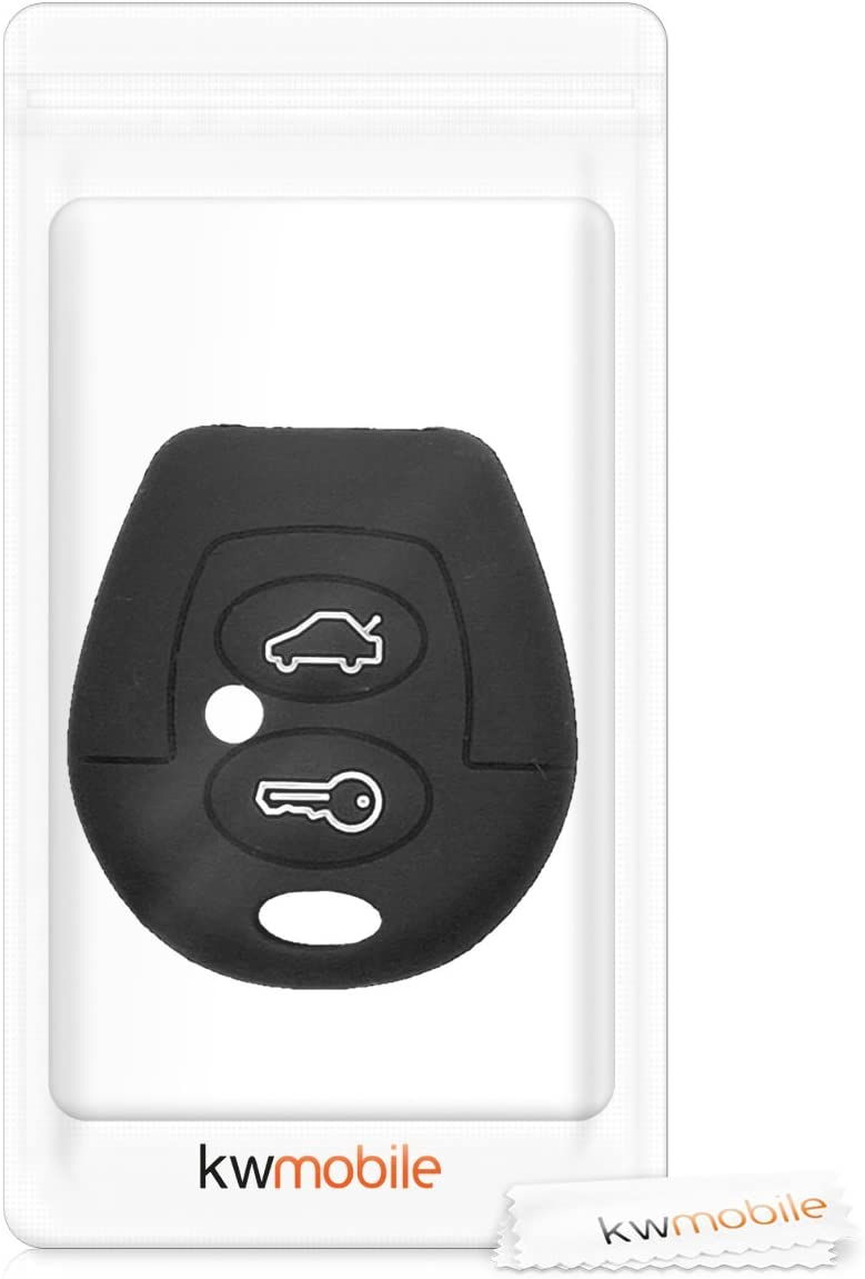 Coque pour Clef de Voiture /à Distance VW Skoda Seat 2-Bouton en Silicone Noir /Étui de Protection Souple kwmobile Accessoire cl/é de Voiture pour VW Skoda Seat