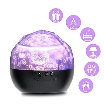 Proyector lámpara de noche, slowton cumpleaños feliz/Luna y ...