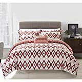 6 Piece Red White Geometric Twin XL Duvet Cover Set, Ikat Jacquard Theme Diamond Pattern Bedding,Boho Chic Medallion Geometrical Southwest Contemporary Trendy Sleek Reversible, Microfiber Polyester