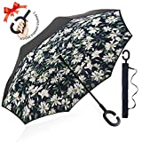 : ZOMAKE Double Layer Inverted Umbrella Cars Reverse Umbrella, UV Protection Windproof Large Straight Umbrella for Car Rain Outdoor With C-Shaped Handle(lilies)