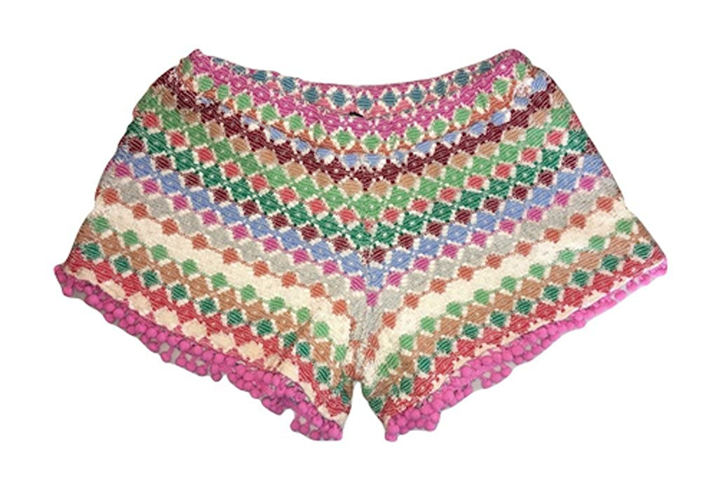 Ragdoll and Rockets Girls Boho Tapestry Shorts with Pom Pom Trim
