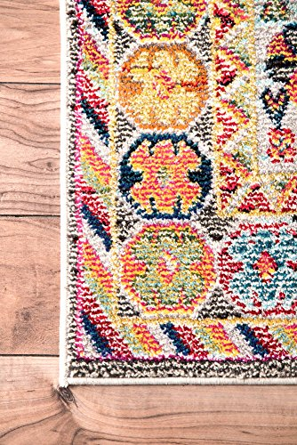 "nuLOOM Meadow Vintage Vibrant Runner Rug, 2' 6"" x 8', Black - Origin: Turkey Weave: machine made Material: 100% polypropylene - runner-rugs, entryway-furniture-decor, entryway-laundry-room - 611t88TBH%2BL -"