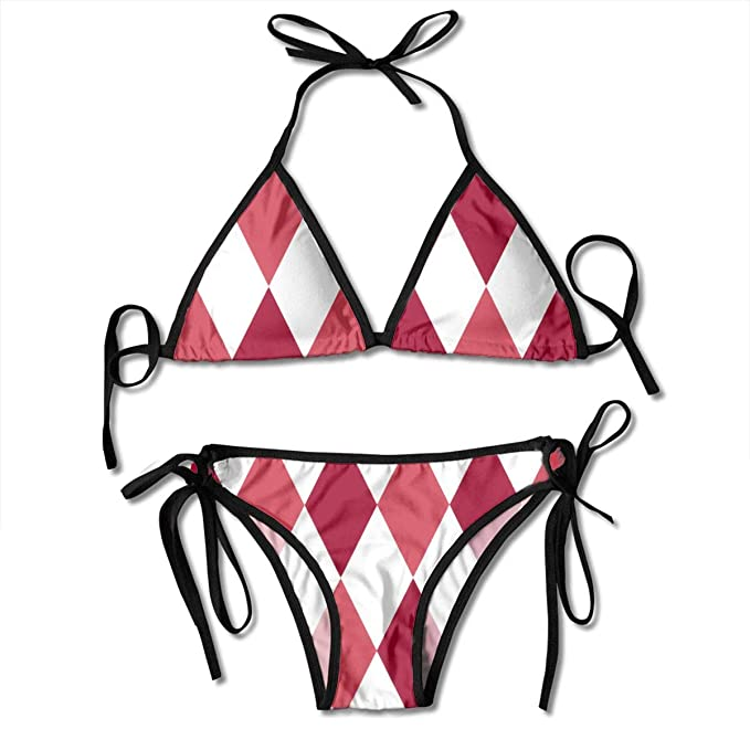015b9880e2ff0 Women's Adjustable Bikini Tops, Diamonds Christmas Red Two Piece Swimsuit  String Swimsuit