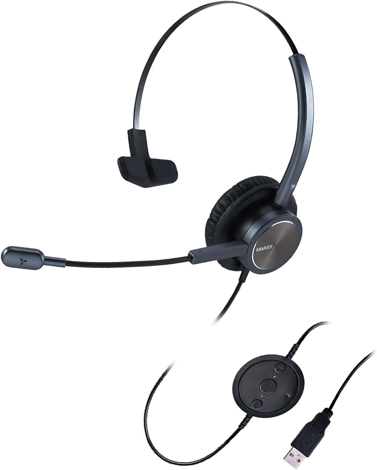 USB Headset with Noise Cancelling Microphone & Mic Mute, Mono Computer Headphone for Call Center Office Business PC Softphone Calls Microsoft Teams Skype Chat, Clear Voice for Voice Recognition