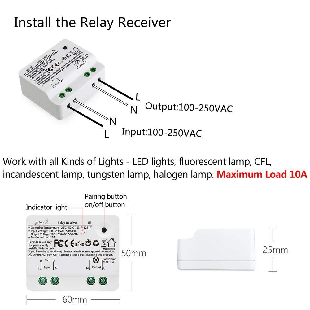 Funk Schalter Wasserdicht Lichtschalter Funk Wandsender im InnenbereichRadio Frequency Technologie f/ür Deckenleuchte Treppenlicht createjia Intelligenter Drahtlos Schalter