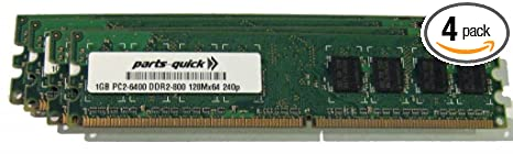 4GB Memory Upgrade for Dell Dimension 4700 Desktop PC 4 X 1GB DDR2 NON-ECC  PC2-6400 240 pin 800MHz DIMM RAM (PARTS-QUICK BRAND)