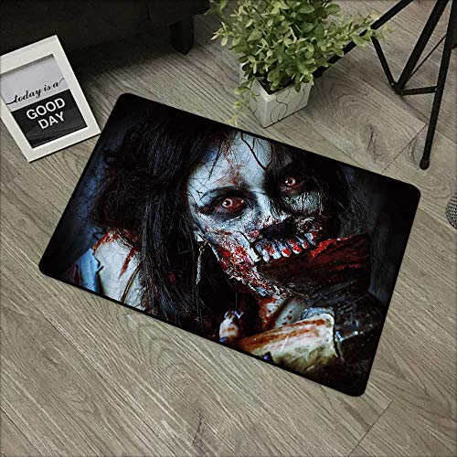 Meeting room mat W19 x L31 INCH Zombie Decor,Scary Dead Woman with Bloody Axe Evil Fantasy Gothic Mystery Halloween Picture,Multicolor Natural dye printing to protect your baby's skin Non-slip Door Ma -