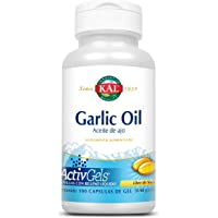 KAL Garlic Oil (100 Cápsulas de gel Aceite de Ajo) 2000 mg Libre de Soya, Enriquecido con Aceite de Perejil, Garantía Clear Quality (absorción en 30 min).
