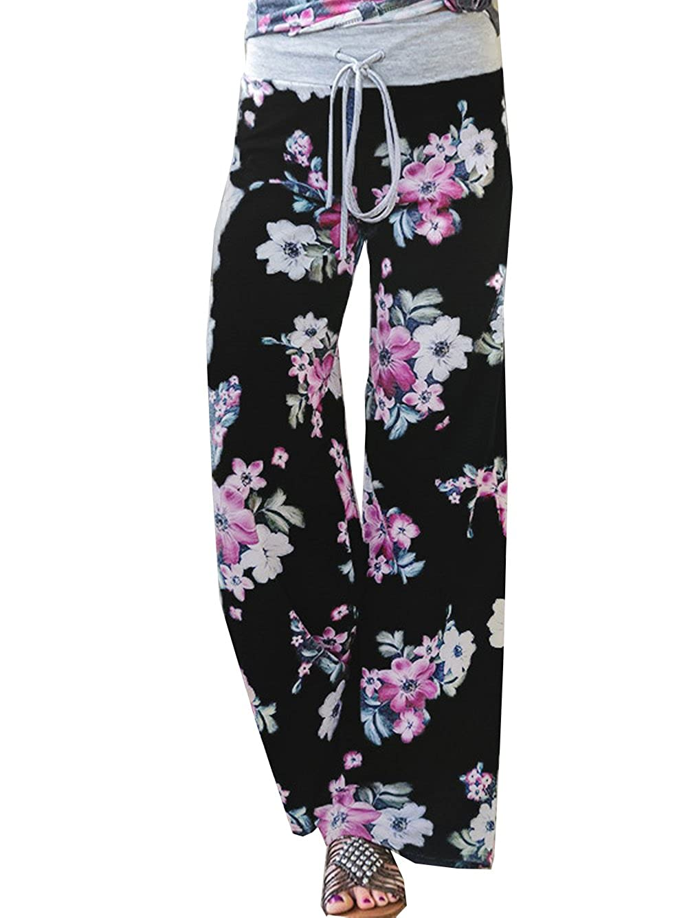 Black 3 Famulily Women's American Flag Floral Drawstring High Waist Wide Leg Pants