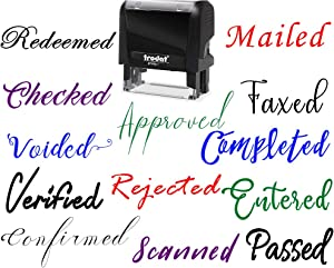 15+ Fonts Business Stamp 1 line 2 line Office Stamp Self-Inking Entered Approved Emailed Returned Faxed Completed Checked Redeemed Mail Custom Personalized Customized Stamp Stamper