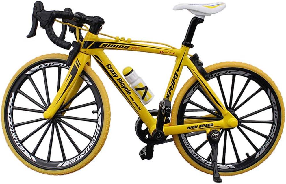Doigt - Mini Bicicleta de montaña de Carretera Modelo Diecast Creative Sport Regalo para niños y jóvenes, Color Amarillo, tamaño Talla Abierta