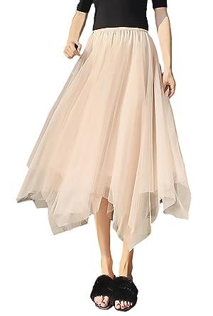 Falda Tul Mujer Elegantes Fiesta Esencial Cintura Moda Elástica ...