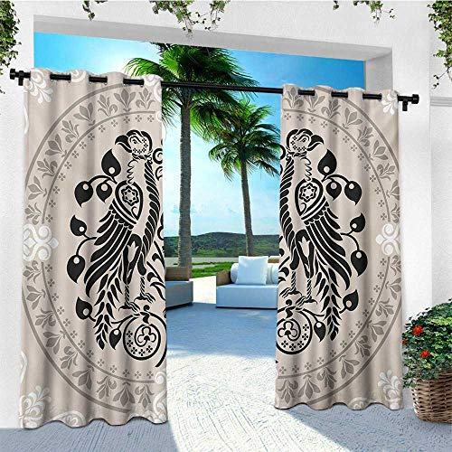 leinuoyi Vintage, Sun Zero Outdoor Curtains, Ethnic Heraldic Eagle Birds with Damask Floral Figures Victorian Retro Design, for Patio Furniture W96 x L96 Inch Tan Black White (Garden Victorian Sale Furniture For)
