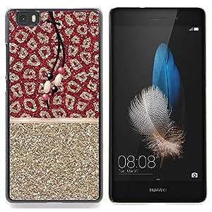 - Leopard Gold Glitter Fur Pattern Indian/ Duro Snap en el tel????fono celular de la cubierta - Cao - For HUAWEI P8 Lite
