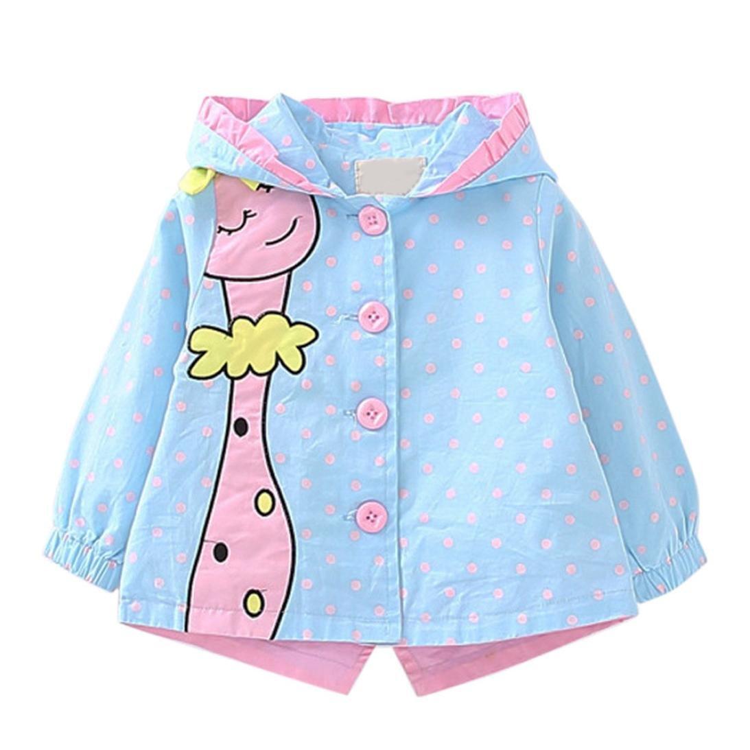 CSSD Kids Baby Girl Winter Warm Trench Coat Windbreaker Jacket Outwear Parka by (90, Light Blue)