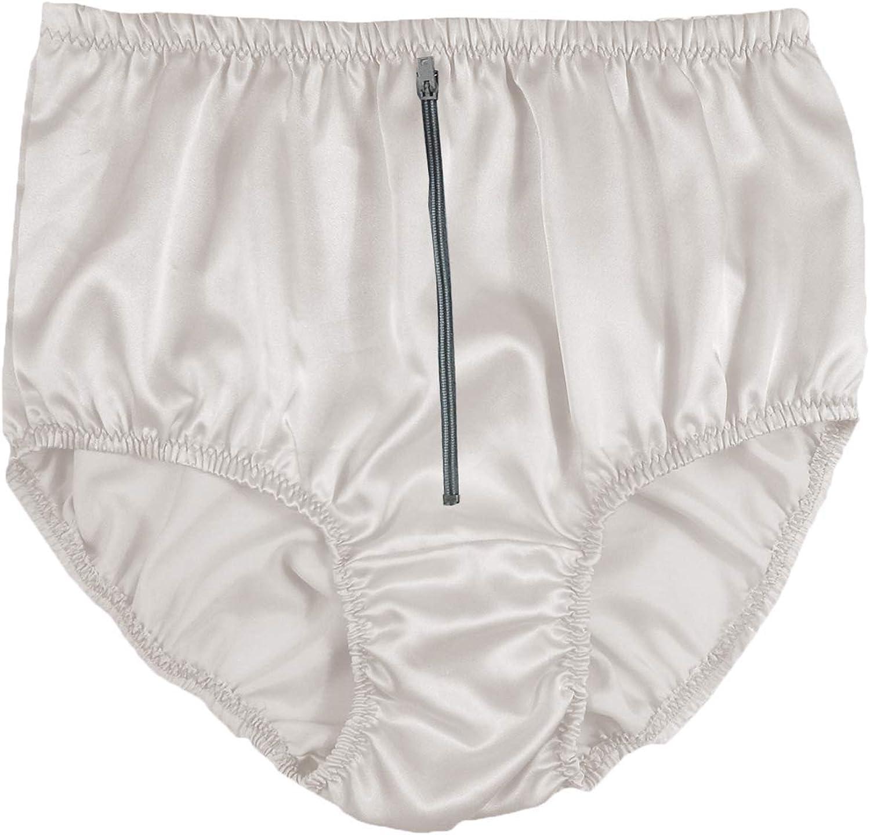 STPH03D13 White Zipper Satin Panties for Women Plus Size Briefs Underwear Handmade Men Ladies