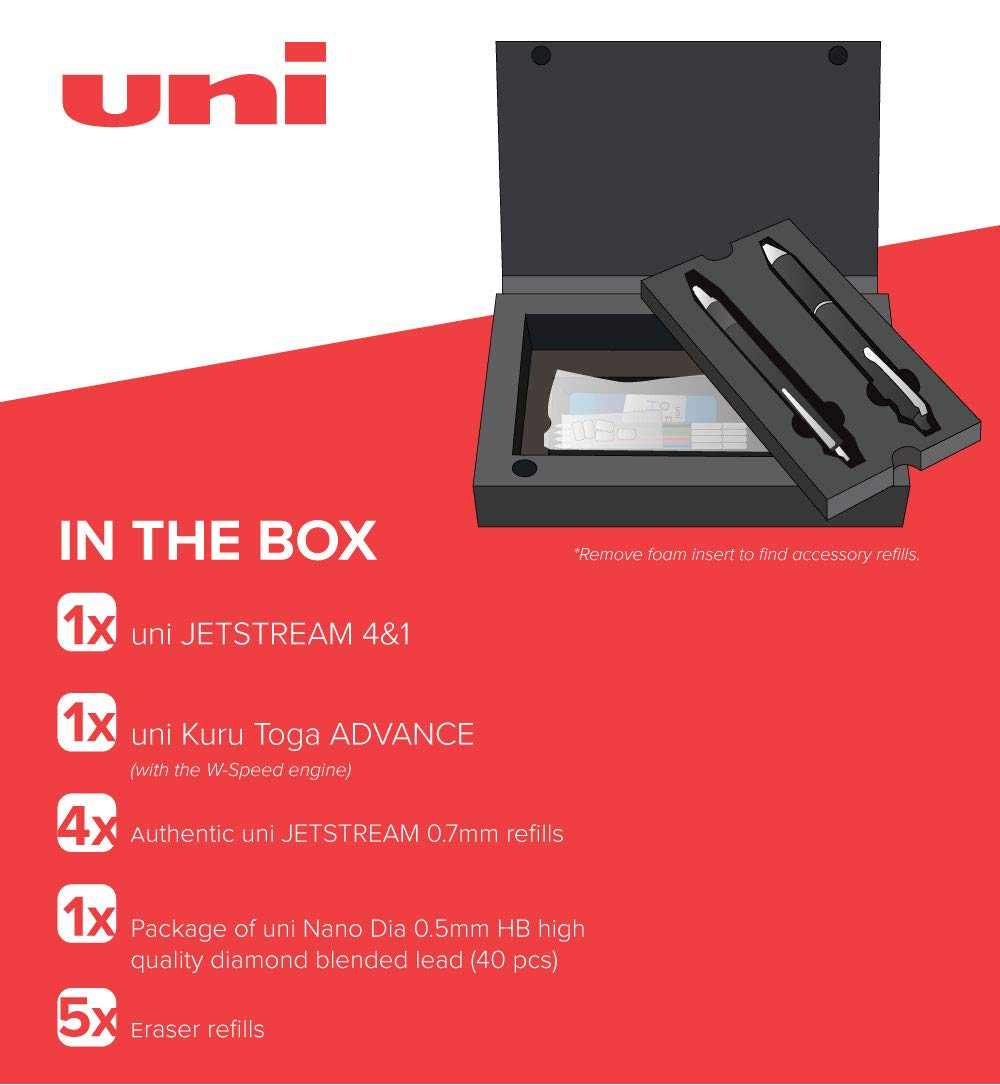 uni JETSTREAM 4&1 - (Red, Green, Blue and Black 0.7mm ink + 0.5mm Pencil) plus uni Kuru Toga ADVANCE mechanical pencil with Exclusive uni Box by uni (Image #7)