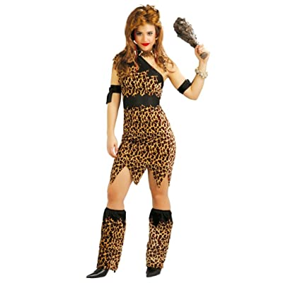 Ladies Prehistoric Cavegirl Cavewoman Velvet Leopard Festival Jungle Jane Fancy Dress Hen Party Costume Outfit UK 8-18: Clothing