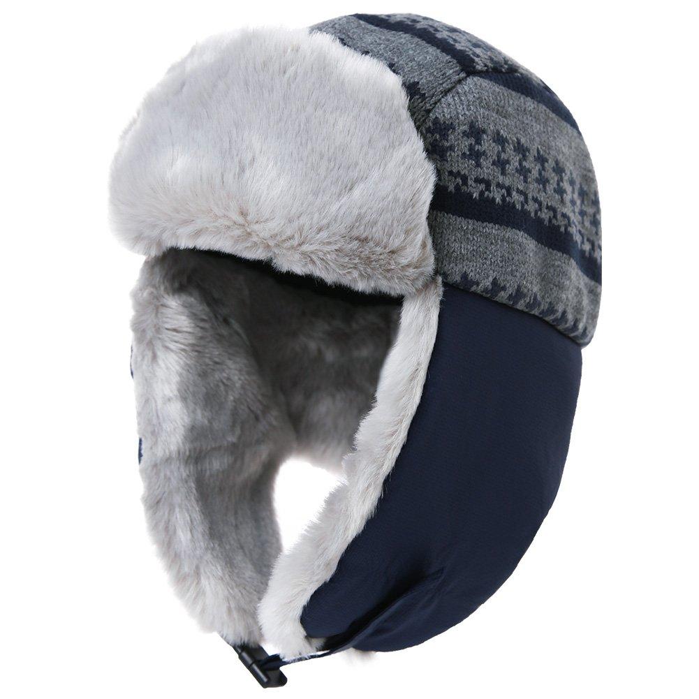 Siggi womens trapper hat faux fur aviator hat ear flaps russian mens winter  cold weather hat 8f15e22538f1