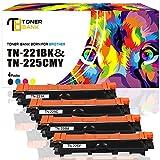 Toner Bank 4-Pack Replaces TN221 TN-225 TN221BK for HL-3170CDW Brother HL-3170CDW HL-3140CW HL-3180CDW HL-3180 HL3140CW HL3170CDW MCF-9340CDW MFC-9130CW MFC-9330CDW Color Laser Black Toner Cartridge