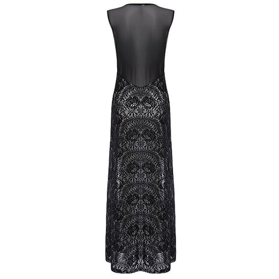 Rosegal Vintage de la mujer ver a través de encaje sin mangas vestido de noche largo Negro negro XXL: Amazon.es: Ropa y accesorios