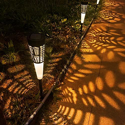Solarlampen für Außen Garten 4 Stück FOMYHEARD Solarleuchten für Außen wasserdichte IP54 Led Solar Gartenleuchten für Dekoration Hinterhöfe Balkon Rasen Gehweg Landschaft