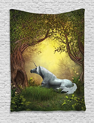Unicorn Tapestry Wall Hanging by , Enchanted Forest Fantasy Magical