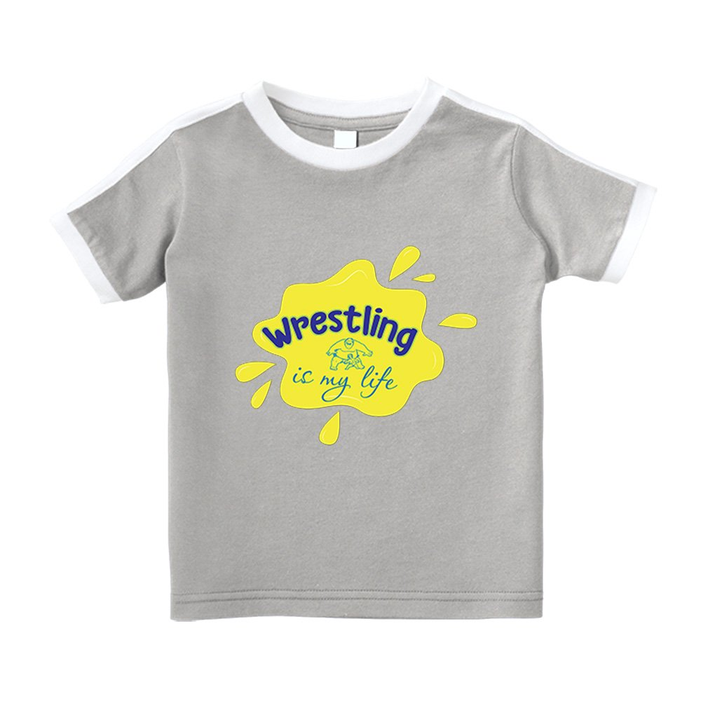 Wrestling is My Life Sport Cotton Short Sleeve Crewneck Unisex Toddler T-Shirt Soccer Tee - Oxford Gray, 2T by Cute Rascals