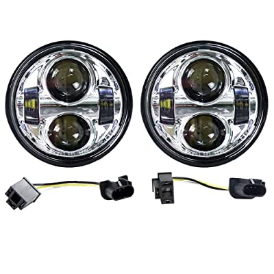 "4.65"" 80W Dual LED Headlights W/Daytime Running Lights for Harley-Dyna Glide Fat Bob/Street (Cree silver): Automotive"