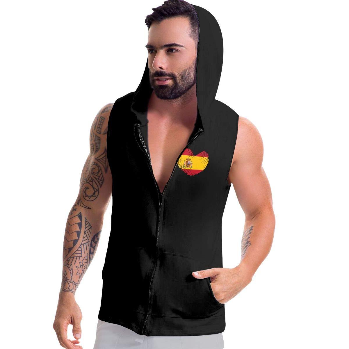 Mens Sleeveless Sweatshirt Hoodies Spain Flag in Heart Shape Zip Up Vest