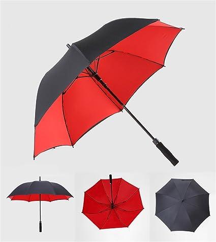 Paraguas Recto, Paraguas Doble Grande, Paraguas automático a Prueba de Viento, Amarillo Azul