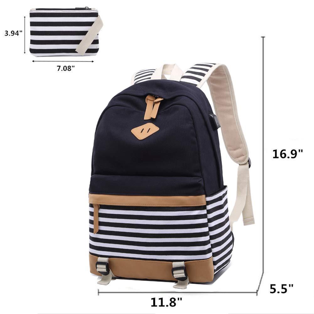 Amazon.com   Canvas Backpack Girls Stripe School Bookbag Women College  Backpack With USB Port Black   Kids  Backpacks 5ac14443a9