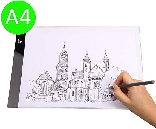 A4 Caja de luz LED artista Dibujo almohadilla, Tablero Trazado Patrón de dibujo Tracing Copy Pad Board, caja ligera, ligero almohadilla, Mesa de luz: Amazon.es: Hogar
